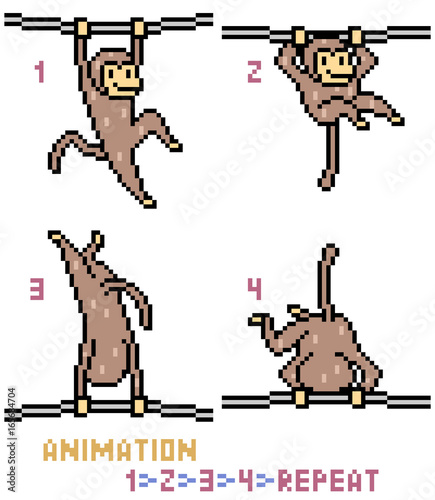 vector pixel art monkey animation frame - Monkey Picture Frame