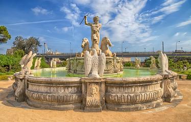 GENOA (GENOVA) ITALY, JULY, 19, 2017 - Neptune fountain in the the garden of the Prince's Palace, Andrea Doria's Palace in Genoa (Genova), Italy