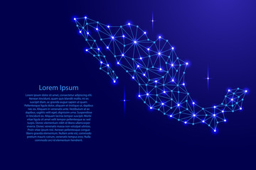 Mexico map of polygonal mosaic lines network, rays and space stars of vector illustration.