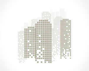 Building and City Illustration at night, City scene on night time, Urban cityscape. Vector image.