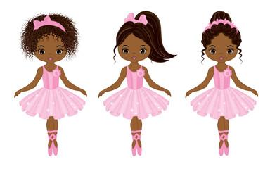 Vector Cute Little African American Ballerinas with Various Hairstyles