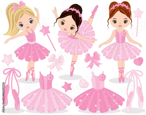 7728383c22912 Vector Set with Cute Little Ballerinas, Ballet Shoes and Tutu Dresses