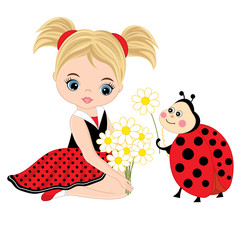 Vector Cute Little Girl with Ladybug and Flowers