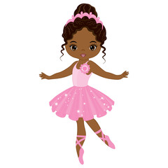 Vector Cute Little African American Ballerina Dancing