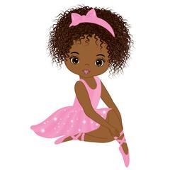 Vector Cute Little African American Ballerina