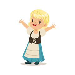 Cute girl wearing blue skirt and corset, national costume of Germany colorful character vector Illustration