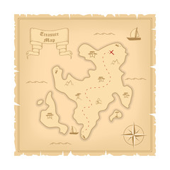 Vector Template of Pirate old Treasure Map. Illustration of Vintage Paper Stylized Manuscript