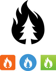 Forest Fire Icon - Illustration
