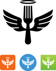 Fork With Halo And Wings Icon - Illustration