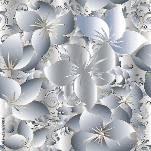 Light Floral 3d Seamless Pattern Background Wallpaper With Vintage Decorative White Gold Flowers Scroll
