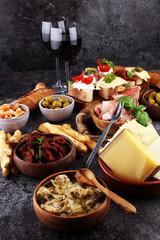 Italian antipasti wine snacks set. Cheese variety, Mediterranean