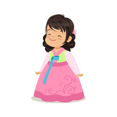Little girl wearing pink dress, national costume of Korea colorful character vector Illustration