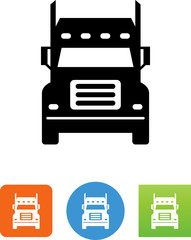 Front View Of A Semi Truck Icon - Illustration