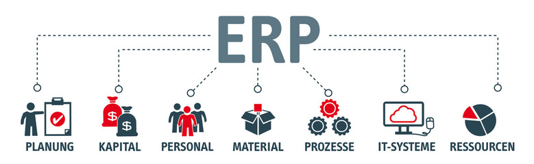 Banner ERP mit vektor icons. Enterprise-Resource-Planning