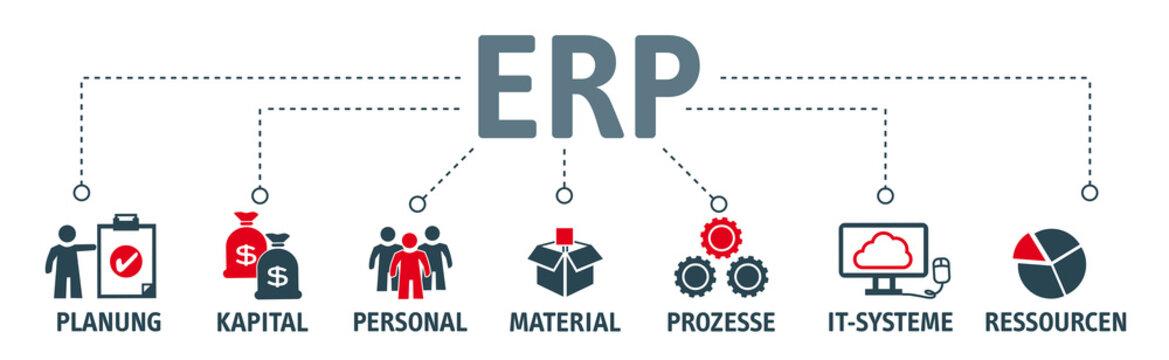 Banner ERP mit vektor icons. Enterprise-Resource-Planning