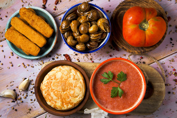 spanish omelet, gazpacho, escargots, fish sticks