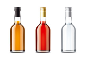 Blank bottles set of alcohol drink