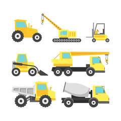 Cartoon Construction Machinery Color Icons Set. Vector