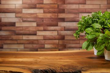 Fresh organic green wooden background