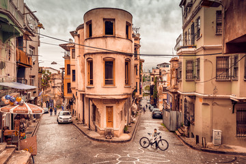 ISTANBUL, TURKEY - May 6, 2017:Panoramic Vintage view of Traditional Street and houses at balat area.Street view in historical Balat district. Balat is popular attraction in Istanbul