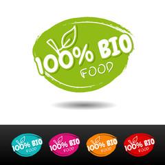 Wall Mural - Set of 100% Bio food badges. Vector hand drawn labels.