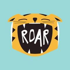 Roaring cartoon tiger. Vector hand drawn illustration.
