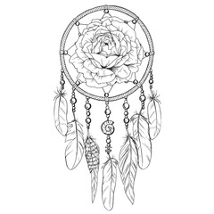 Hand drawn ornate Dreamcatcher with rose bud in contour. Vector illustration.