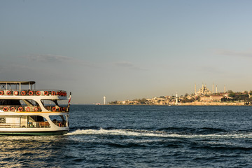 ISTANBUL,TURKEY,APRIL 20,2017:View of Sultanahmet mosque from sea  in Istanbul,Turkey.