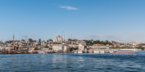 ISTANBUL,TURKEY,APRIL 20,2017:View of New Mosque from sea  in Istanbul,Turkey.