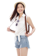 Portrait of young woman with backpack