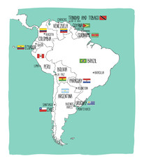 Hand drawn vector map of South America with flags.
