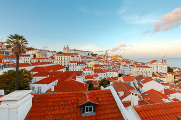 Lisbon. Aerial view of the city on the Sunset.