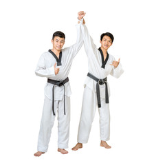 Portrait of two asian taekwondo professional with  black belt hand up for the winner Isolated full length on white background with copy space and clipping path