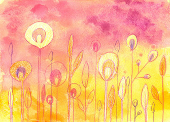 Hand drawn colorful background with flowers