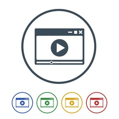 Video player icon isolated on white background