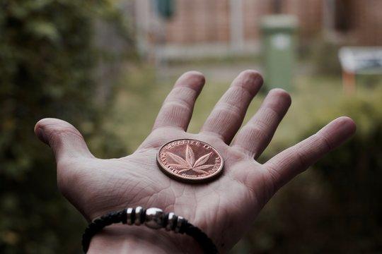 Brass marijuana coin
