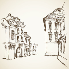 Old street. Vector drawing