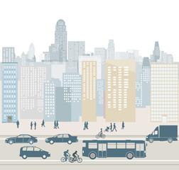 Großstadt mit hochhäuser und Verkehr Illustration
