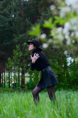 girl in black jacket