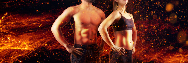 Bodies on fire - female and male muscular upper body