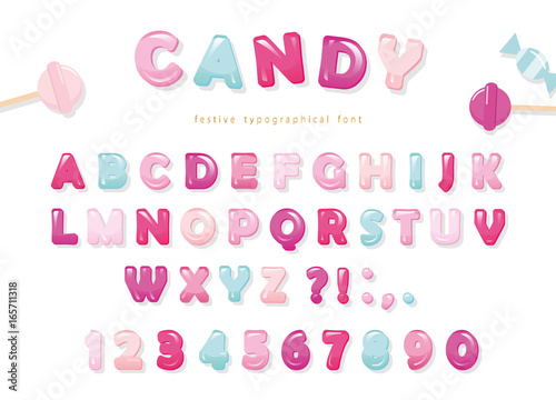 Candy glossy font design  Pastel pink and blue ABC letters