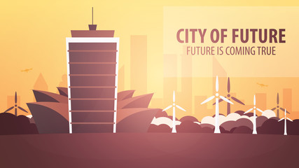 Flat style Modern city houses. Building of future. Architecture of the future.