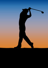 Golf club competition tournament, sunset background. poster with man playing game on green