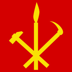 Hammer, sickle and calligraphy brush symbol of Workers Party of North Korea. Vector
