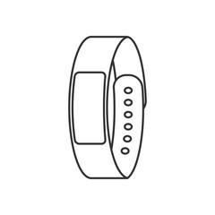 Isolated black outline smart fitness bracelet on white background. Line icon.