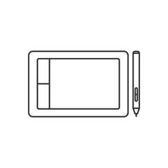 Isolated black outline graphic tablet with stylus on white background. Line icon.