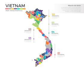 Vietnam country map infographic colored vector template VietnamZwith regions and pointer marks