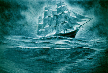 Sailing ship in a storm