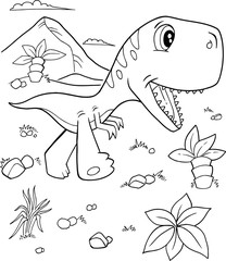 Garden Poster Cartoon draw Cute Tyrannosaurus rex Dinosaur Vector Illustration Art