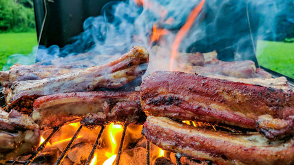 Fire On The Grilled Meat